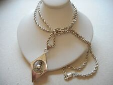 """Vintage Mexico Sterling Pendant 30"""" Chain Necklace  249763"""