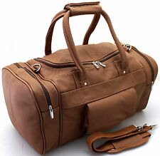 Large Vintage Genuine Leather Holdall Travel Weekend Cabin Sports Duffle Bag TAN