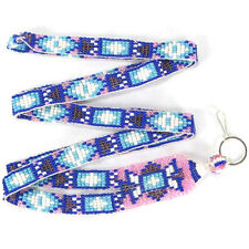 BLUE PINK WHITE CZ SEED BEADED LANYARD ID BADGE HOLDER