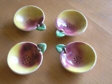 Three Antique Ceramic Majolica Apple Or Peach Shape Leaved Tea Sifters Strainers