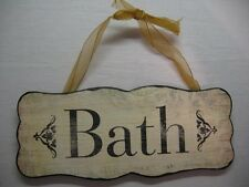 """PRETTY SHABBY*CHIC VINTAGE FRENCH STYLE WOODEN PLAQUE DOOR HANGER SIGN """"BATH"""""""