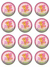 "12 x Girl 1st Birthday Bear personalised 2"" PRE-CUT Rice Paper Cupcake  Toppers"