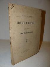 Critica Dante Divina Commedia, De Nicola: Anarchia o Beatrice? 1894 Napoli