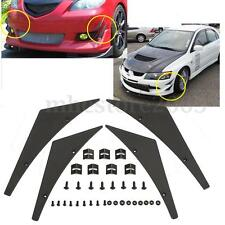 Universal Car Front Bumper Canards Lip Splitter Flexible Fins Body Spoiler Kit