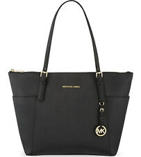 NWT Michael Kors Jet Set Top Zip Large Tote Saffiano Leather 30F4GTTT9L BLACK
