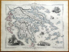 Grecia, RAPKIN & TALLIS ORIGINALE ILLUSTRATO ANTICO MAP c1850