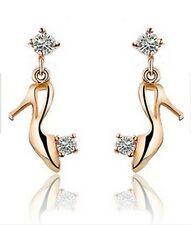 18K Gold plated Zircon Crystal High heels shoes Earrings charm Cute luxury bling