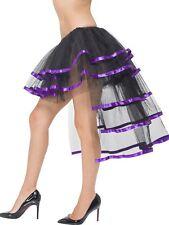 Sexy Smiffy's Black Burlesque Tutu Skirt with Long Train and Purple Trim