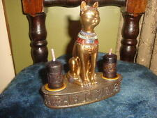 "Bastet Cat Goddess Altar Candle Holder with Candles 4 1/2"" x 2 1/2"""