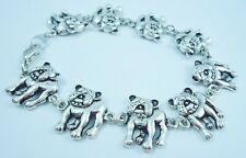 6.75 inch Adorable Bulldog Bracelet antique silver plated 17 cm