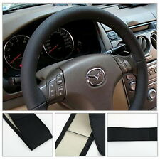 DIY Leather Car Auto Steering Wheel Cover With Needles and Thread Black EA