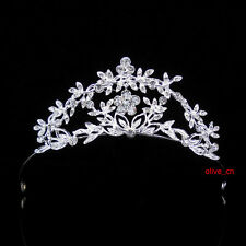 4cm High Elegant Simple Flower Leaf Wedding Bridal Bridesmaid Party Prom Tiara
