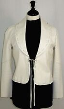One Girl Who Leather and Knit Jacket Ties Fringes Ivory Cream M