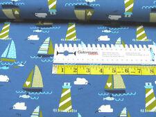 Jersey • Segelboot und Leuchtturm • blau • Baumwoll Jersey Kinder • 0,5m