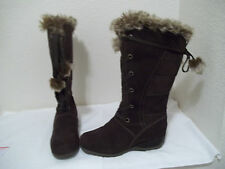 WOMENS SPORTO KRISTEN WATERPROOF BROWN LEATHER FAUX FUR LINED TALL BOOTS 10 CUTE