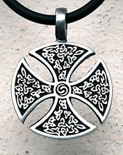 Celtic Knot Consecration Solar Sunwheel Rounded Iron Cross Norse Pewter Pendant