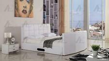 American Eagle B-D053 White PU Queen Sleigh Bed with TV Storage Space
