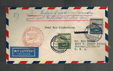 1936 Frankfurt Germany Hindenburg Zeppelin first flight cover FFC to USA LZ 129