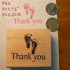 P62 Baby feet thank you note rubber stamp