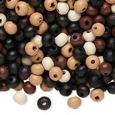 8107NB BULK, Bead Wood, 5x4mm rondelle Mix, Black, Brown, White. Beige 2,400 Qty