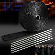 5M Roll Black Fiberglass Exhaust Header Pipe Heat Wrap Tape+6 Ties Kit