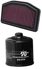 K&N Motorcycle Air Filter + Oil Filter Chrome Combo YA-1009 + KN-204