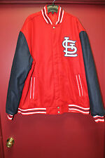 New MLB St. Louis Cardinals Reversible real Wool blue sleeve red jacket men's L