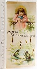 Lovely Girl Teasing Frogs Clark's Mile-End Thread Bookmark Thomas Russell F54