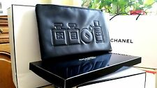 Chanel black faux leather big make up bag pouch NWB