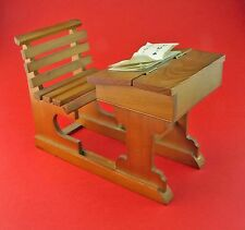 Dolls School Wooden Desk and Chair, scale 1/6