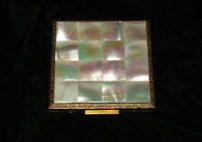 Vintage AMERICAN BEAUTY Compact with Mirror MOTHER OF PEARL & Brass NEW! UNUSED!