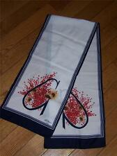 GIM RENOIR PARIS RED FLORAL BOUQET OBLONG SCARF WRAP 11X52 INCHES VINTAGE
