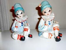 2 Pc Lot Rare Matched Pair of Vintage Porcelain/Ceramic Seated Clowns-Music Box