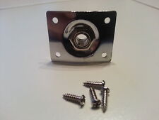 """SQUARE"" CHROME PLATED JACK SOCKET, PLATE & SCREWS TO FIT LP STYLE GUITAR"
