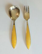 VINTAGE NORWAY GILT & ENAMEL STERLING SILVER BABY SPOON & FORK SET, 40 grams