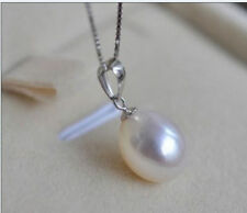 Natural 10x12mm AAA+ South Sea White Pearls Necklace Pendant 14k White Gold