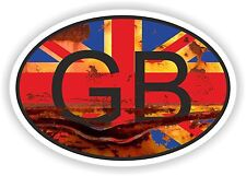 OVAL FLAG GB GREAT BRITAIN COUNTRY CODE STICKER VINTAGE OLD LOOK RUSTY RETRO UK