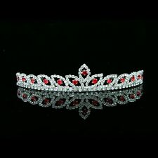 Bridal Red Rhinestones Crystal Prom Wedding Crown Tiara 8423