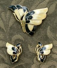 Vintage TRIFARI JEWELRY ART DECO BUTTERFLY BLACK & CREAM ENAMEL BROOCH EARRINGS