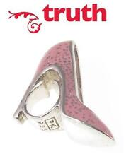 Genuine TRUTH PK 925 sterling silver & pink glitter enamel shoe charm bead