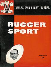 RUGGER SPORT - WELSH RUGBY MAG, MAR 1961, SPRINGBOKS IN WALES, LLANELLI & WALES