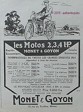 PUBLICITE MONET & GOYON CYCLECAR MOTO 2 3 4 HP DE 1925 FRENCH AD PUB ART DECO