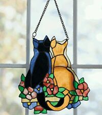 Pair of Cats Stained Glass Pieces Hand-Crafted Window Art FREE EXPEDITE SHIPPING