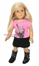ROCK STAR TOP + SKIRT + BOOTS Outfit for 18 inch American Girl Doll Clothes