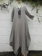 "LAYERING MAXI DRESS BEIGE QUIRKY BALLOON SHAPE 40"" - 46""  BNWT LAGENLOOK ETHNIC"