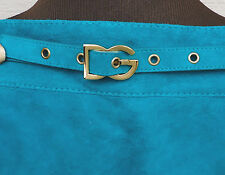 NEW $1350 Dolce & Gabbana Skirt  44 US 8 Dark Turquoise Teal Suede Leather Mini