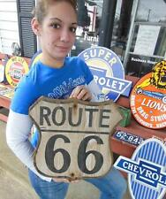 WOODEN WOOD DIE-CUT HISTORIC ROUTE 66 HIGHWAY SIGN GARAGE MANCAVE VINTAGE STYLE