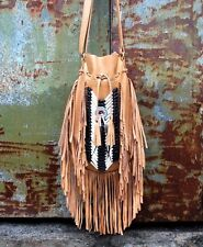 Leather bag, fringe shoulder bag, boho leather purse, light tan