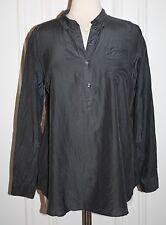 Gap Maternity Woven Silk Fitted Boyfriend Dark Gray Shirt Top Blouse Medium