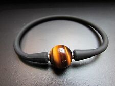 Unisex Black Silicon Rubber Bracelet Tiger's Eye Stainless Steel Post 7.5""